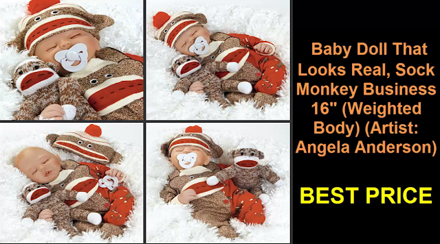 "Baby Doll That Looks Real, Sock Monkey Business 16"" Weighted Body Artist: Angela Anderson"