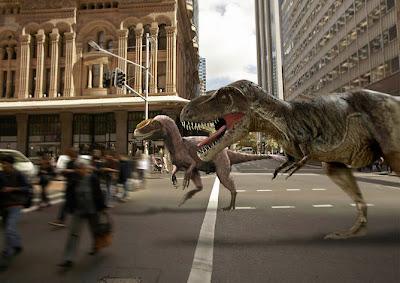 Warga Sydney dikejutkan oleh kemunculan Dinosaurus T-Rex