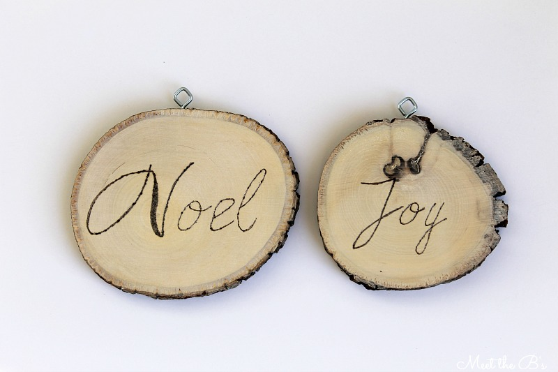 DIY wood-burned wood slice ornaments