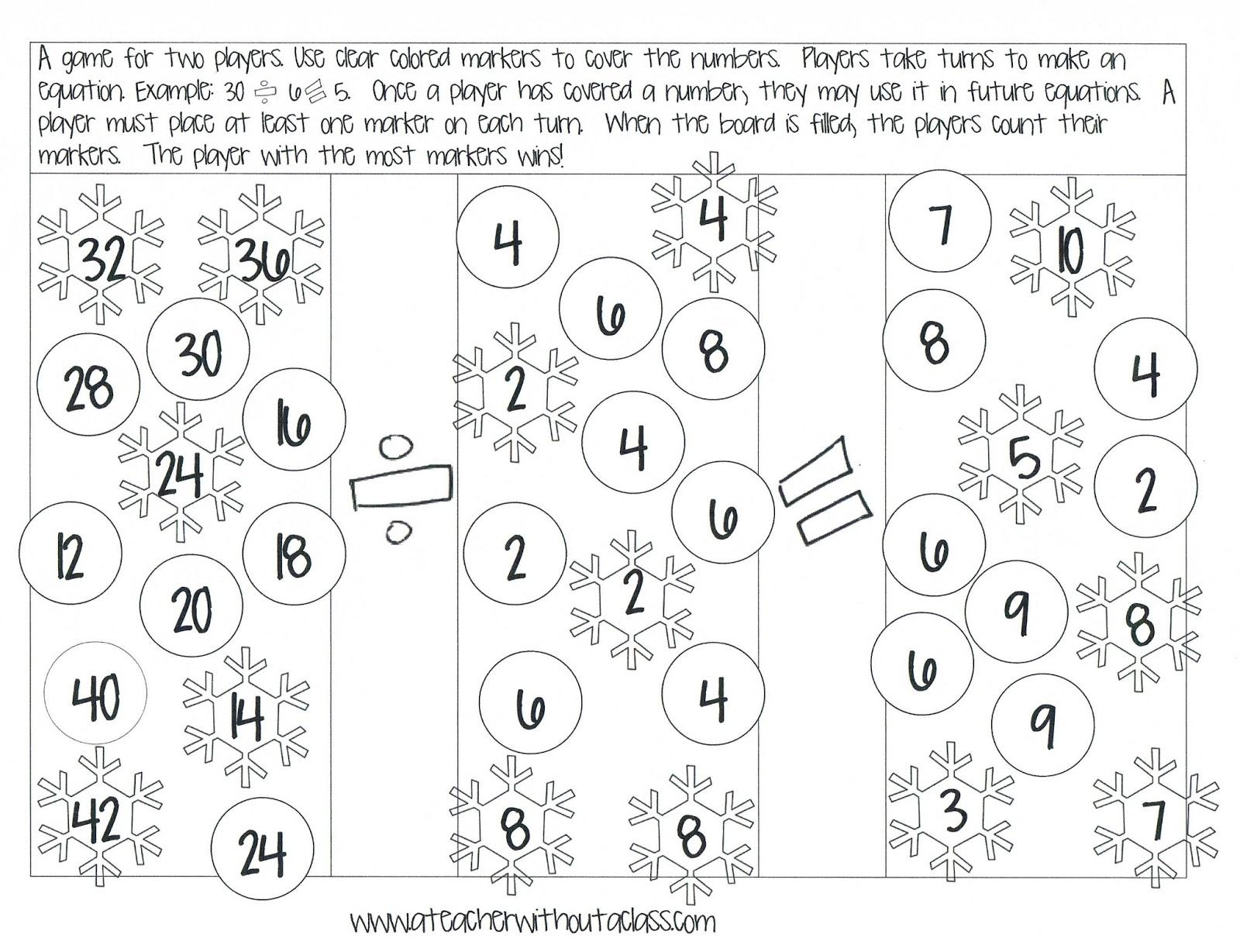 A Teacher without a Class: Division Math Games!