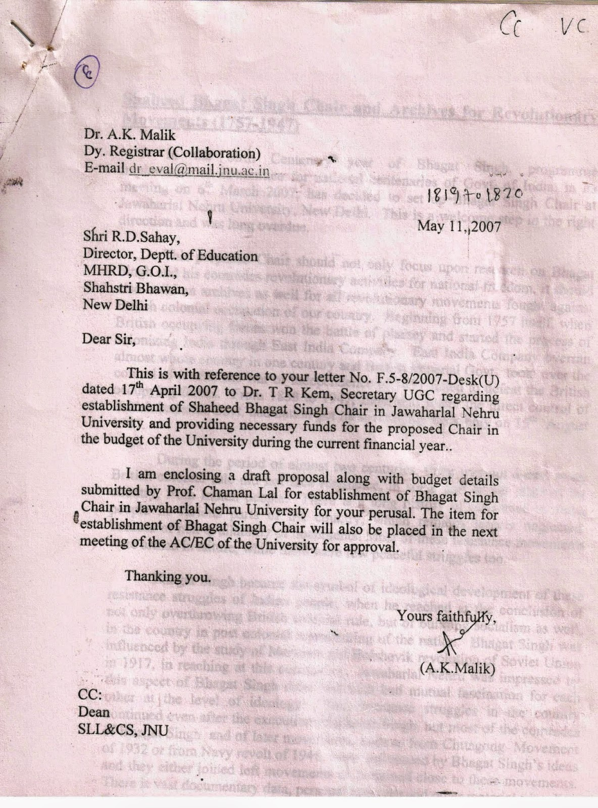 bhagat singh study chaman lal sad story of bhagat singh chair in jnu responded on 11th 2007 to govt of accepting the offer and submitted my proposal for the chair