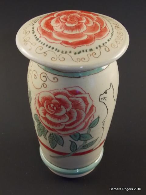 Noveau lidded jar, 7 inches tall