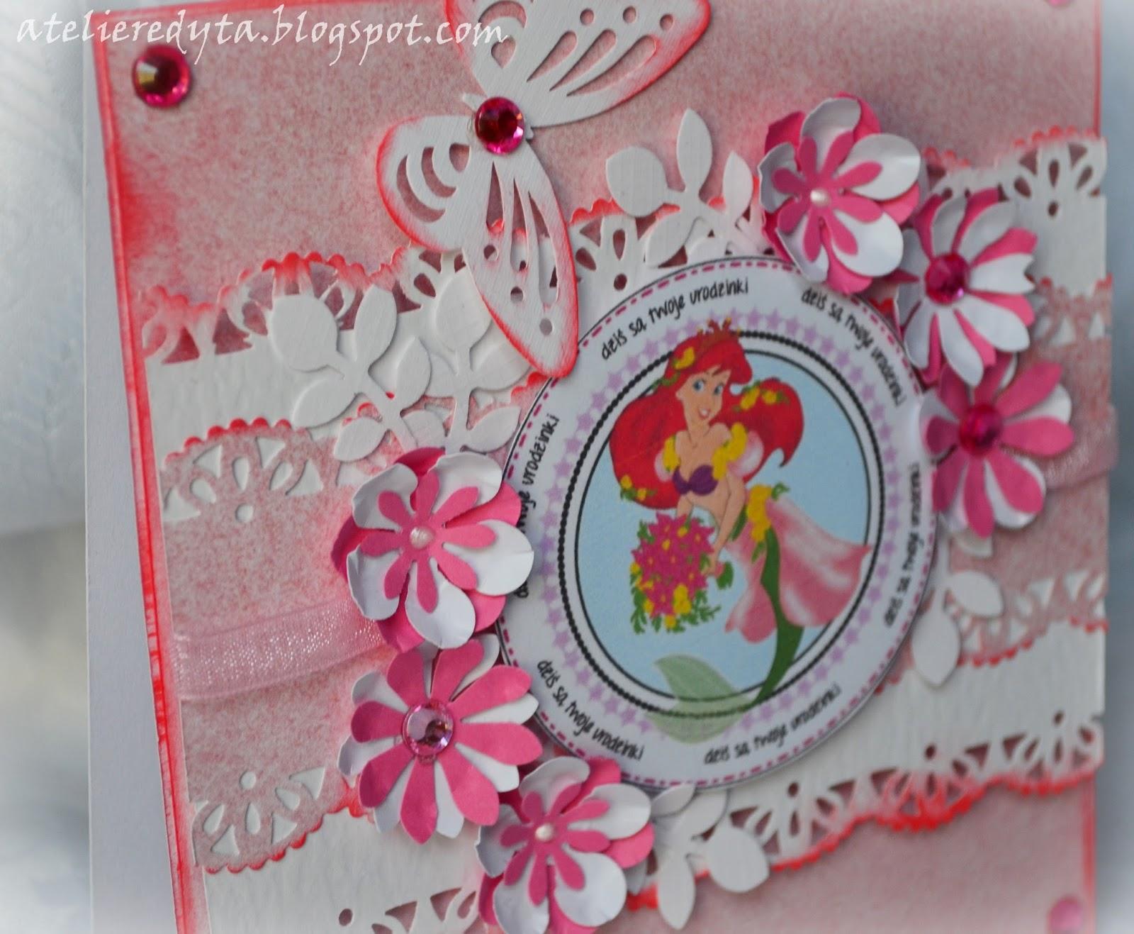 Ręcznie robiona kartka urodzinowa dla dziewczynki