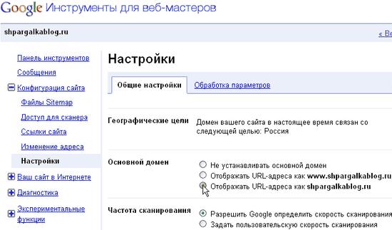 Указать основной домен для Google