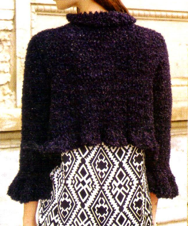 saquito de noche tejido en crochet tras