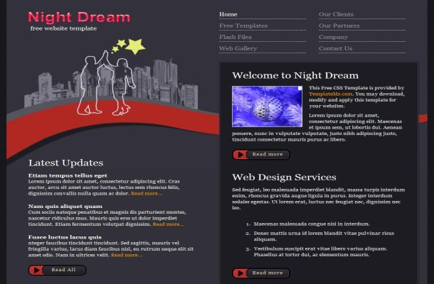 Free Night Grey Business CSS Website Template