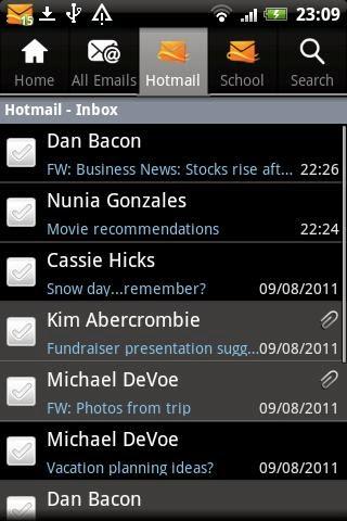 hotmail en un teléfono android