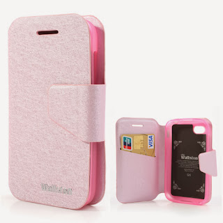 Wallston Filament Grain Leather Case Wallet with Card Slot for BlackBerry Q5 - Pink