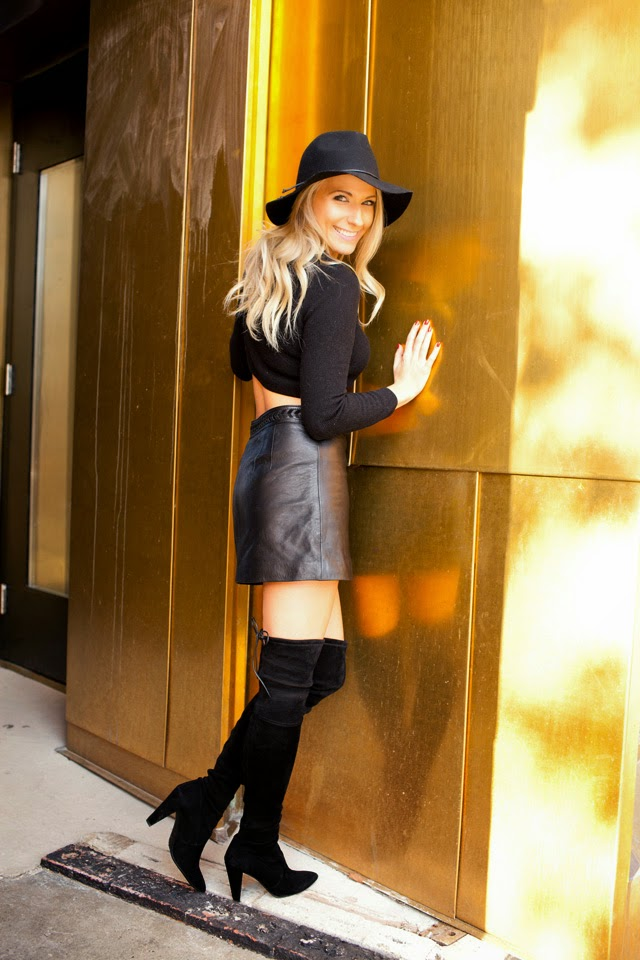 Thigh high boots, target floppy hat, leather skirt, fall fashion
