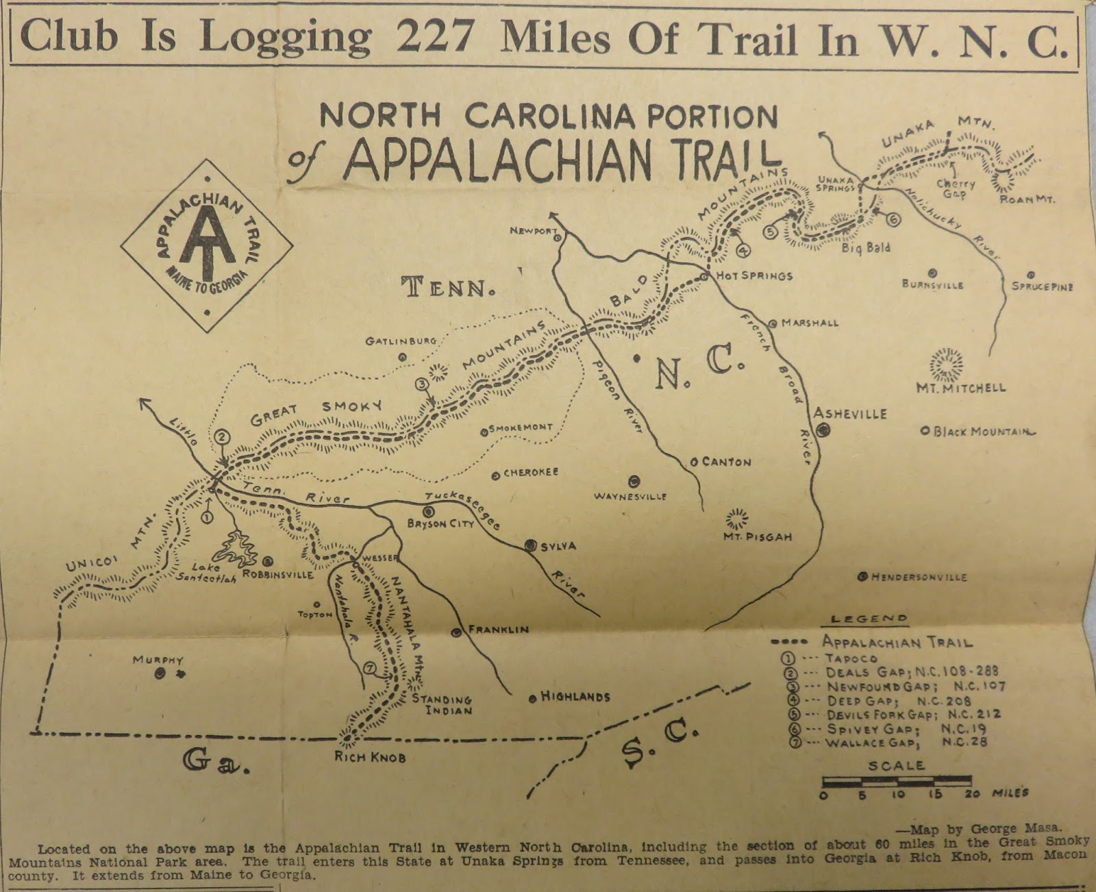 article from asheville citizen times august 7 1932 on cmc s measuring and cataloging of its portion of the appalachian trail