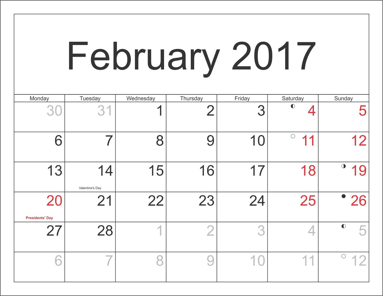 February 2017 Monthly Calendar Printable Templates - Printable ...