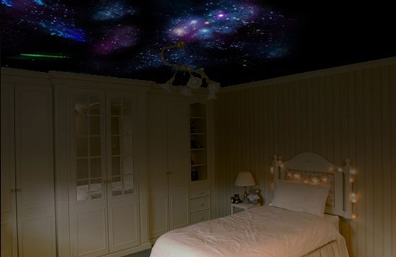 Sweetomah beautiful teens bedroom decorating ideas with - Night sky painting on ceiling ...