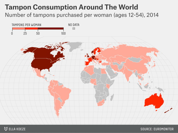 Tampon consumption around the world