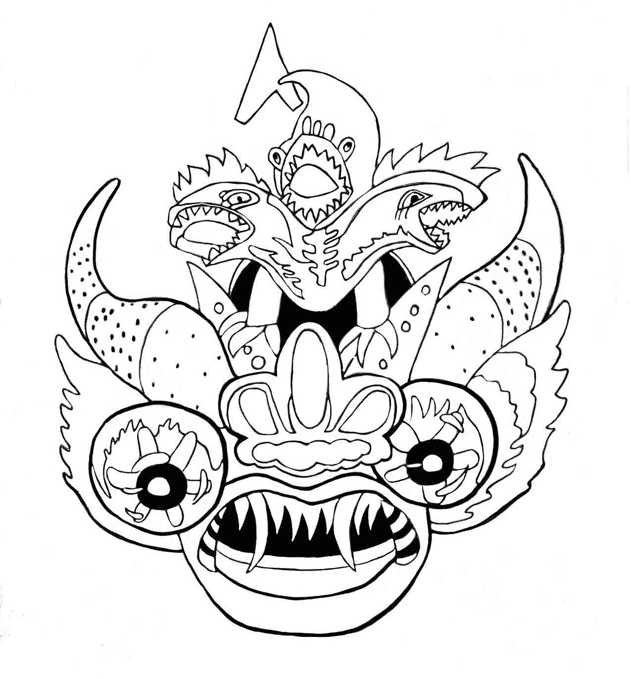 Jose Portugal Catacora: Mascara de la diablada para pintar