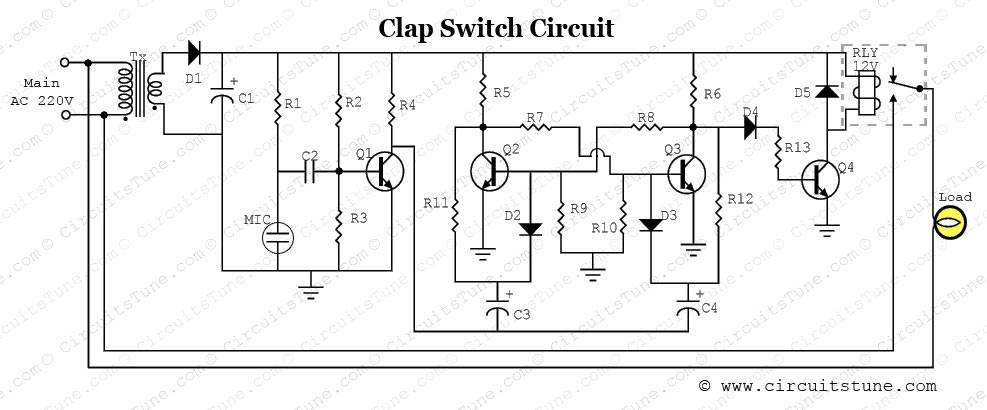 Clap Switch Circuit Diagram Project | CircuitsTune