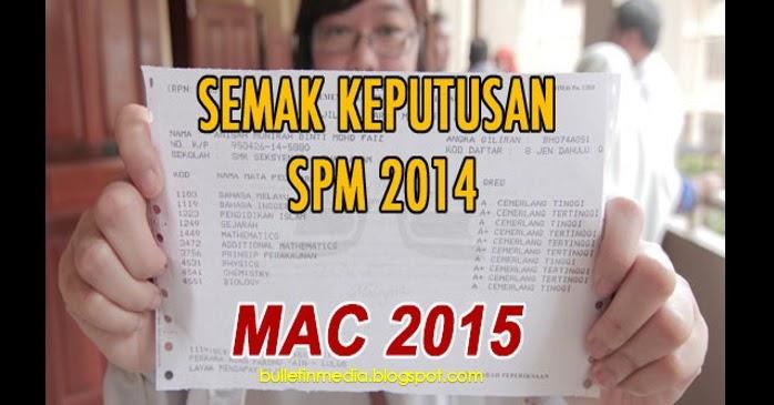 Semakan Keputusan SPM 2014 Keluar 3 Mac 2015 Secara SMS dan Online