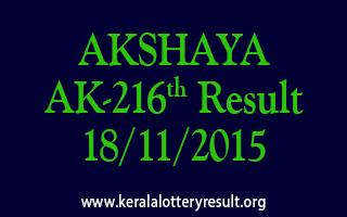AKSHAYA AK 216 Lottery Result 18-11-2015