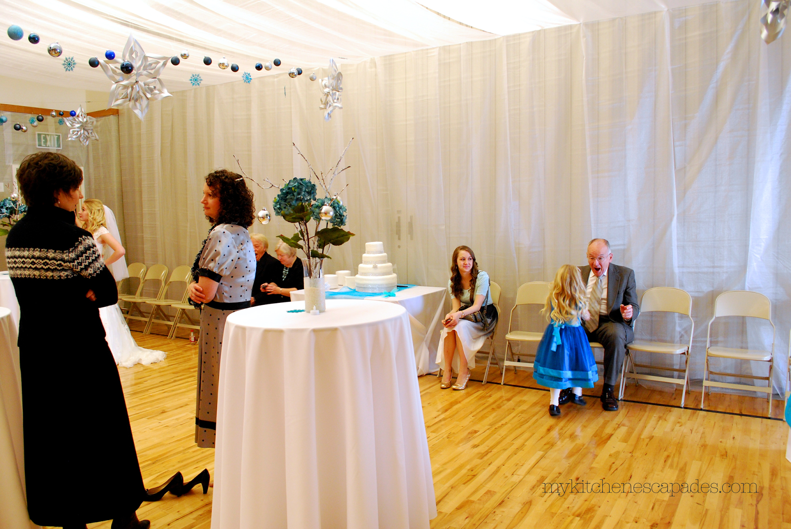 How to drape material for a wedding ceiling