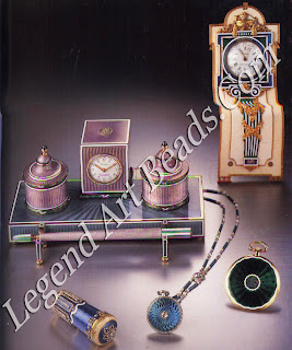 The gold and silver desk tray with mauve, blue, green and white enamel decoration, made for Cartier Paris by the Bako Workshop in 1908, consists of a clock framed by two inkwells and a pen resting on a holder. The gold, enamel and ivory standing desk clock in the shape of a Louis XIV-style barometer was made by Brediltard & Prevost for Cartier Paris in 1904 and sold that same year to J.P. Morgan. The gold, enamel and diamond parasol handle was made in 1907, and the two watches c. 1911 and 1913.