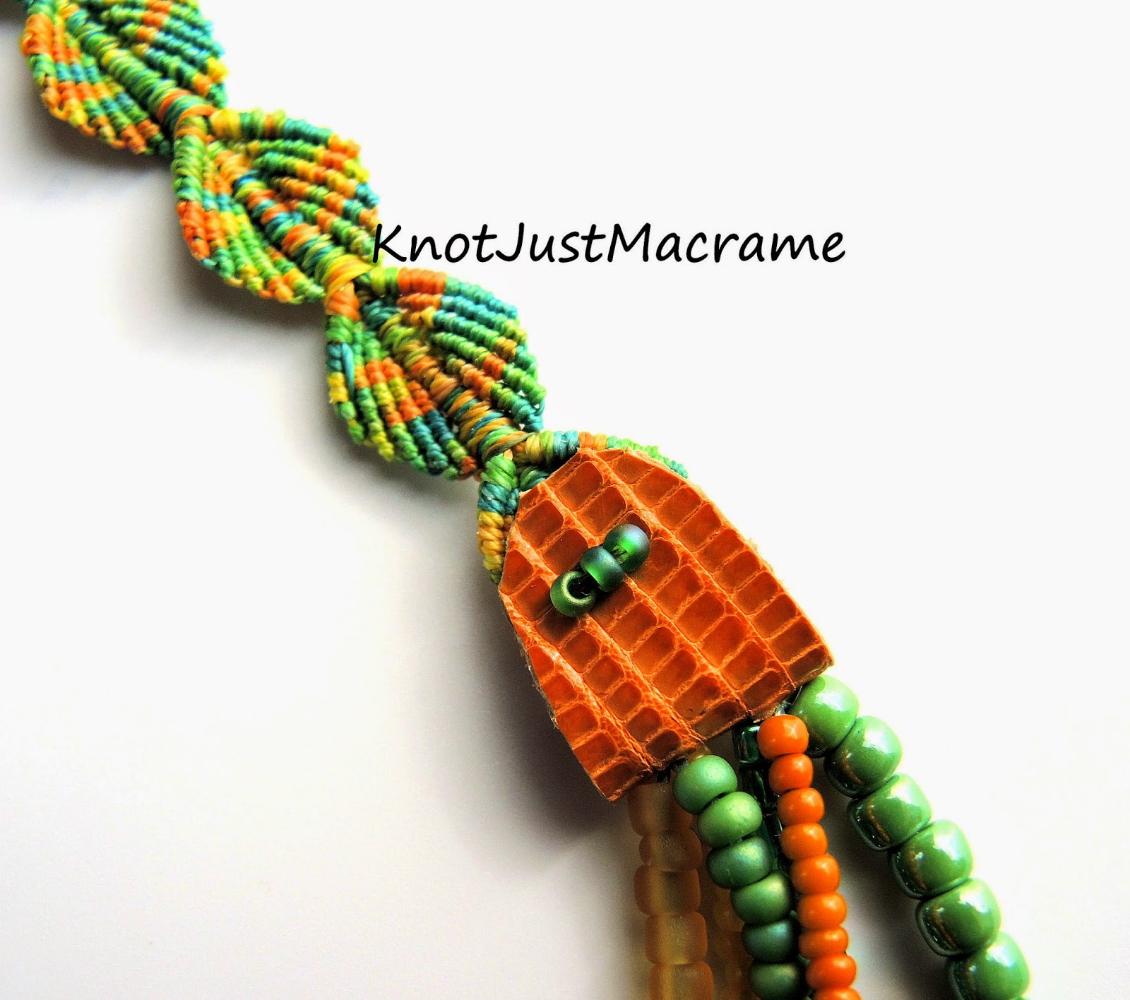 Micro macrame leaves and hand made leather connector