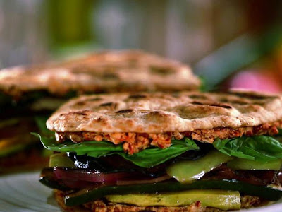 Grilled Veggie Naan-wich with Sun-dried Tomato and Goat Cheese Spread ...