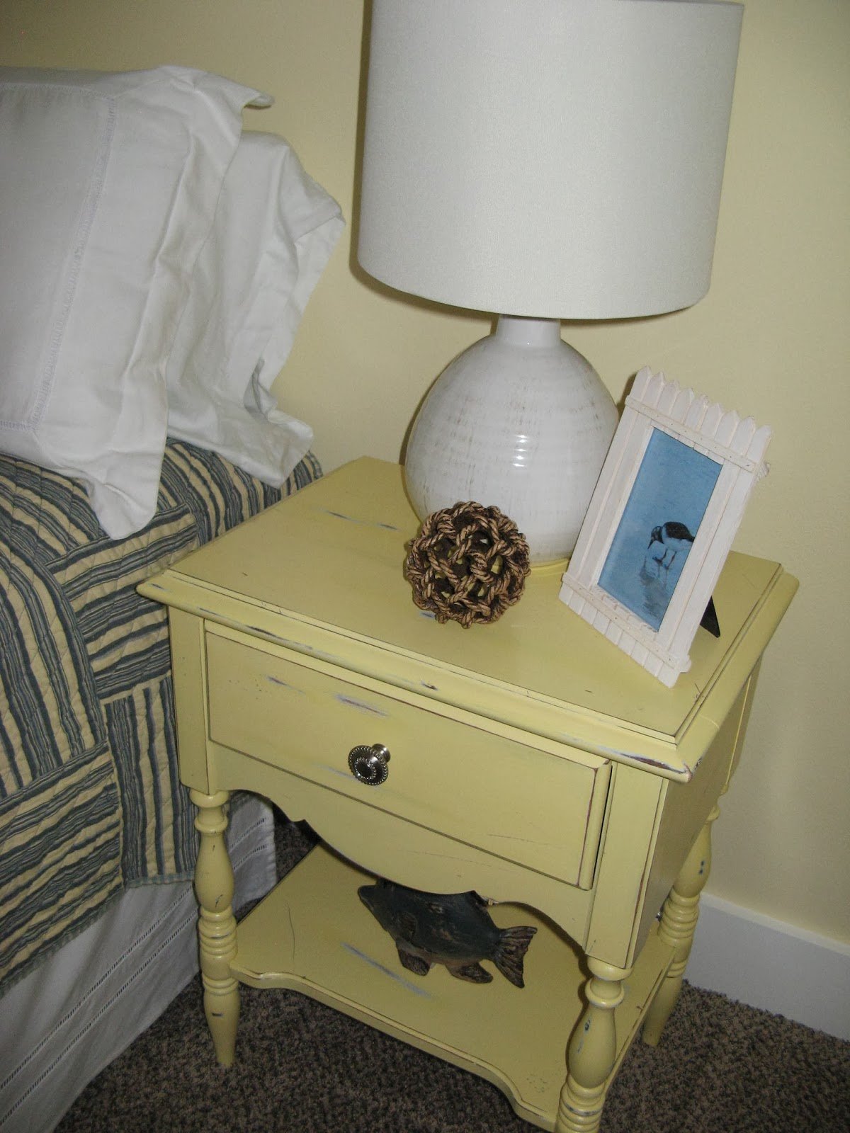 Yellow Nightstand - Sandpaper Distressed
