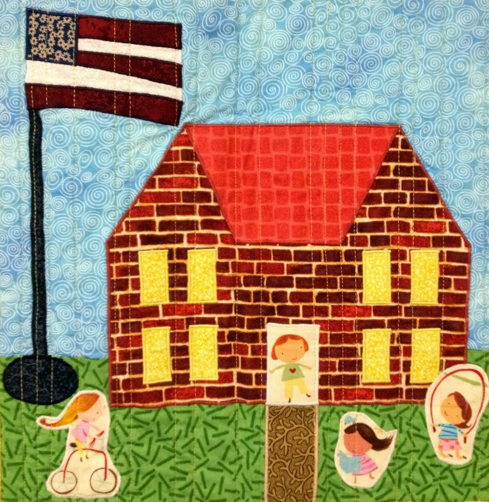 Quilt Block Patterns Of Houses : Starwood Quilter: My House Quilt - Schoolhouse Quilt Block