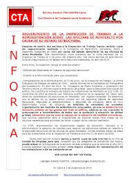REQUERIMIENTO DE LA INSPECCIÓN DE TRABAJO A LA ADMINISTRACIÓN SOBRE  LAS OFICINAS DE MONTEALTO POR