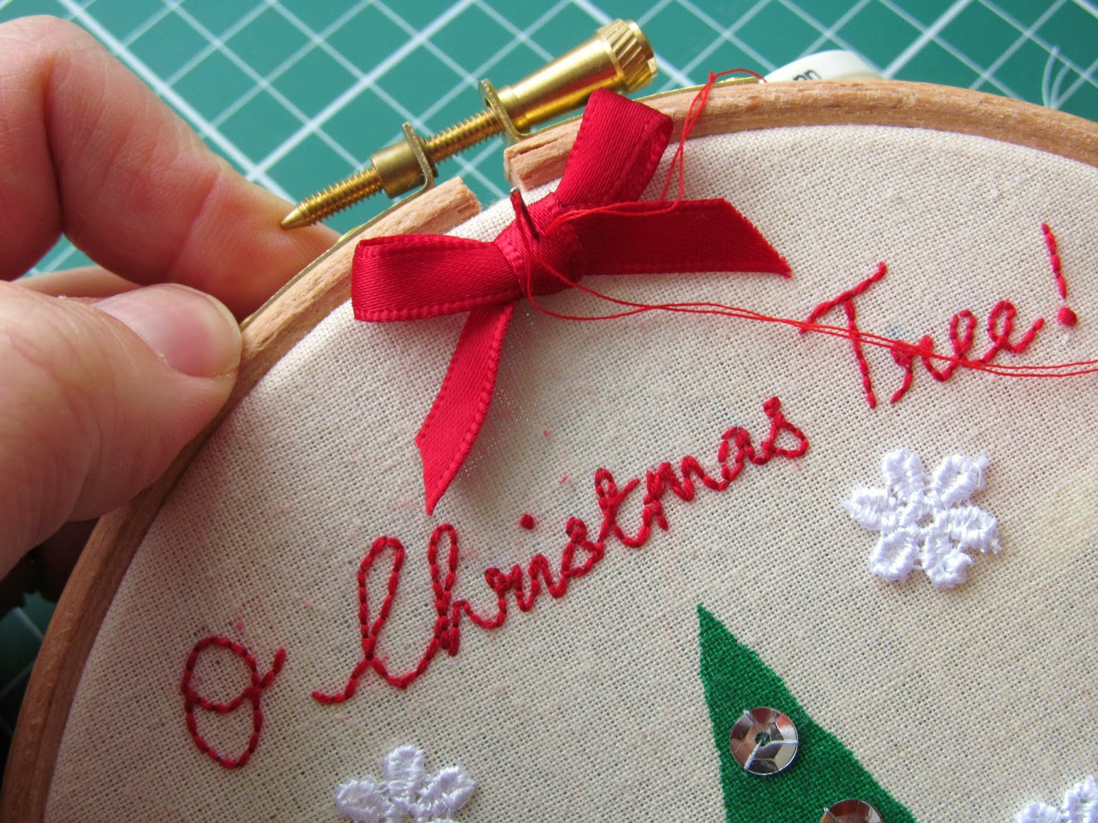 I Then Finished My Embroidery Hoop With A Small Bow Made Of Red Satin  Ribbon And
