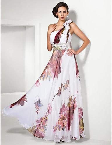 Vestido de noche Gasa con Flores Sandrine
