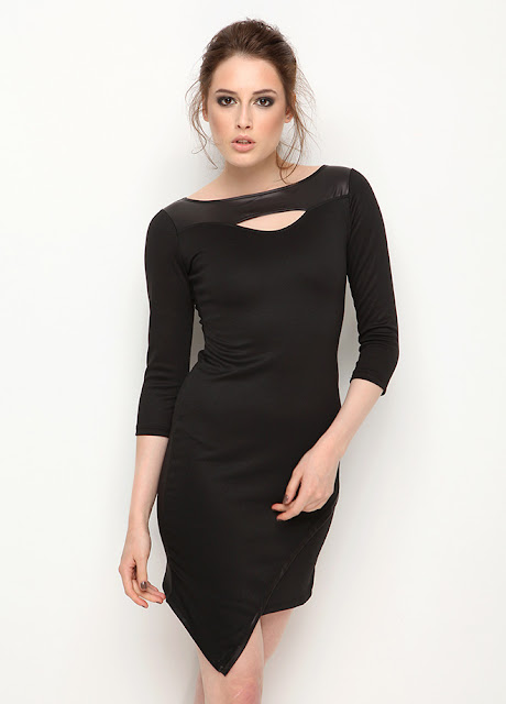 dar kesim siyah kısa elbise