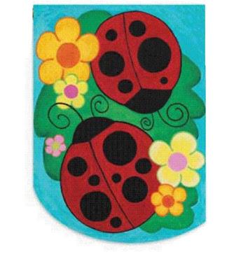 Little Ladies-Ladybug Applique-Garden Flag