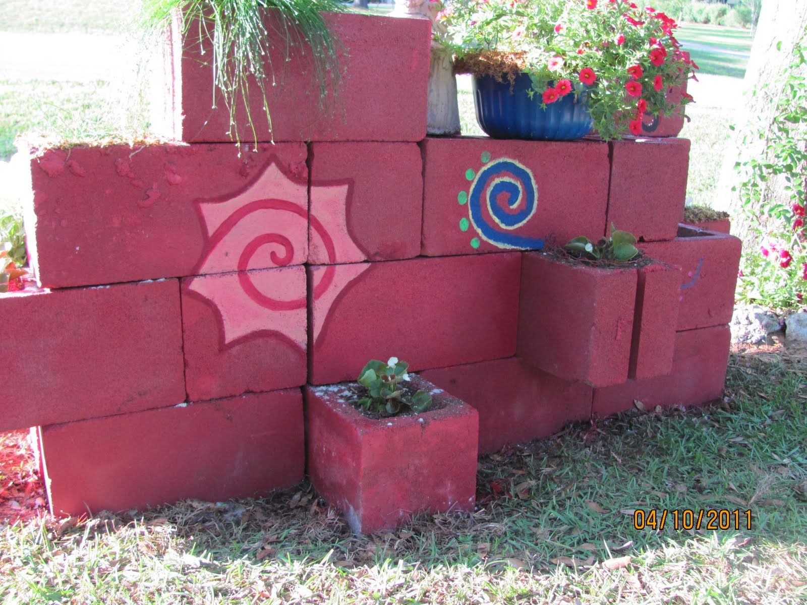 More family and flowers cinder block saturday gardening with teenagers for Painting cinder blocks for garden