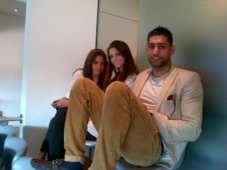 Boxer Amir Khan and Faryal Makhdoom with friend