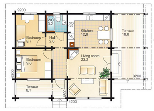 2 Bedroom Hall Kitchen House Plans Hall Home Plans Ideas
