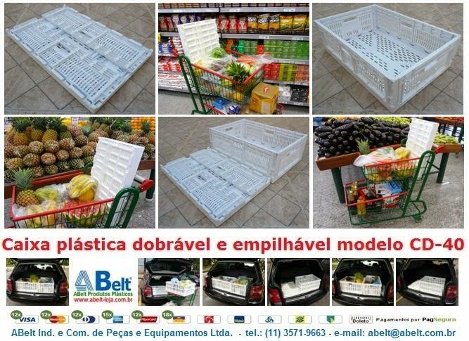 Caixa dobrável para compras de supermercado