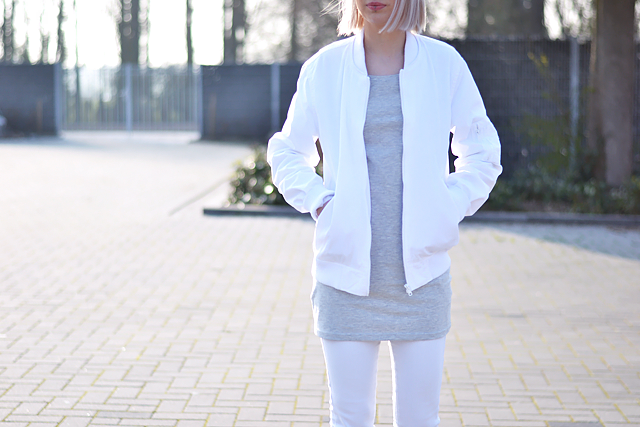 White bomber jacket, asos , takko fashion, dress, white jeans, bershka