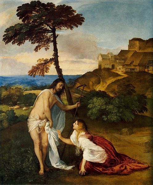 Pintura sobre La aparición de Jesús resucitado a María Magdalena Obra de Tiziano