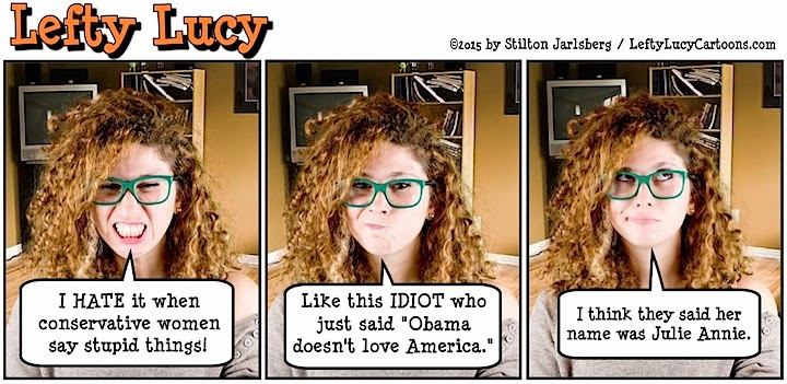lefty lucy, liberal, progressive, political, humor, cartoon, stilton jarlsberg, conservative, clueless, young, red hair, green glasses, cute, democrat, giuliani, obama, america