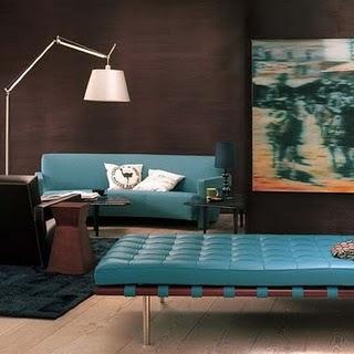 combinação de marrom e azul nos ambientes