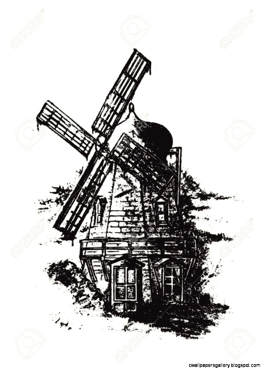 Old Dutch Windmill Pencil Drawing Vector Illustration Royalty