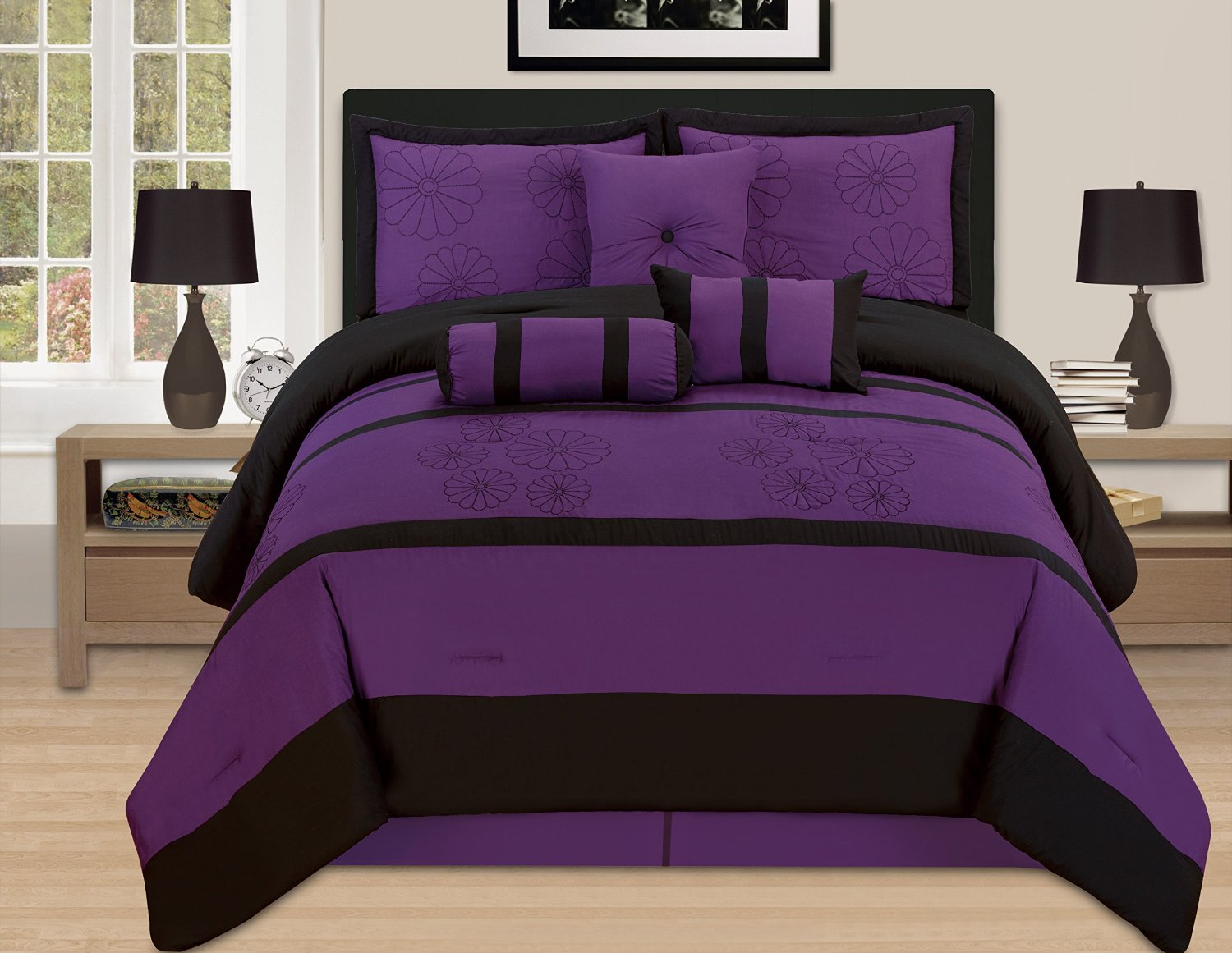 Black and purple bed sheets - 7 Piece Deep Dark Purple Comforter Bedding Set With Throw Pillows