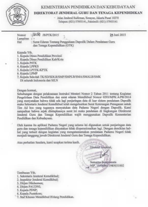 Surat Edaran Dirjen Gtk Tentang Penggunaan Dapodik Dalam