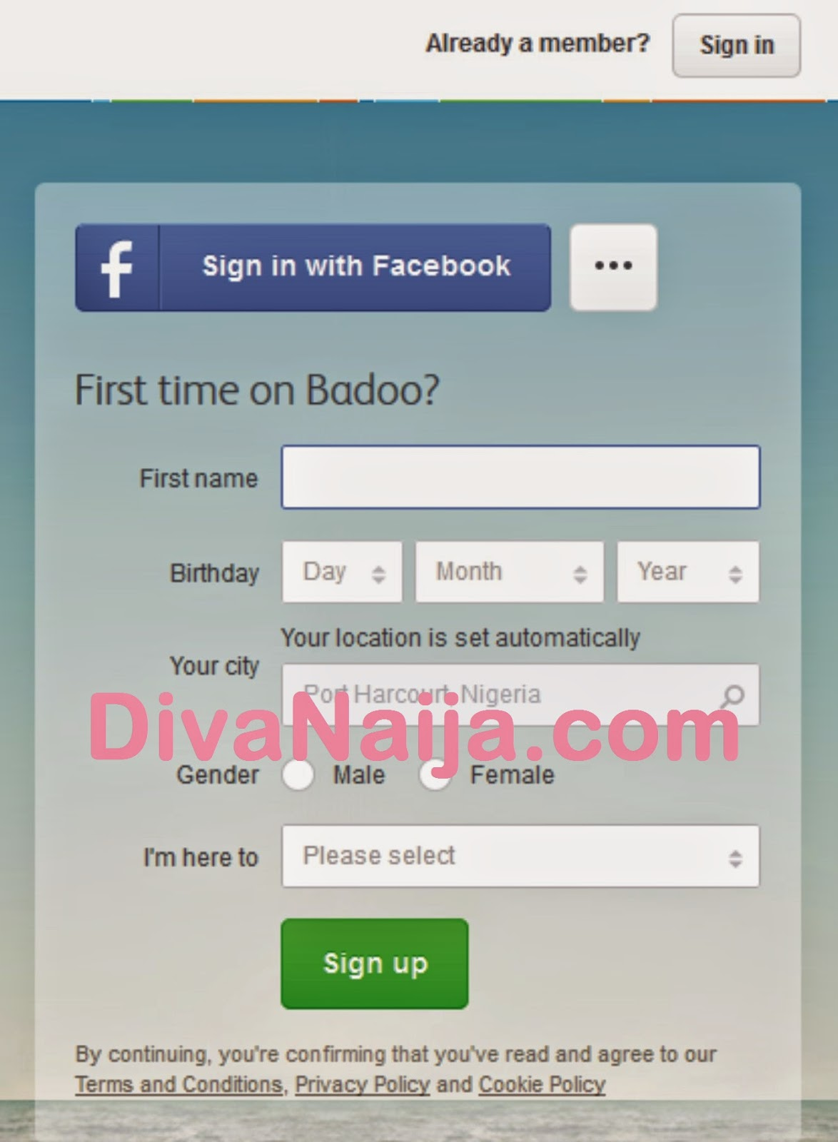 Badoo dating sign in