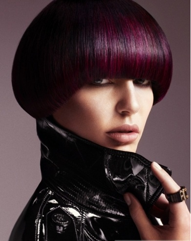 Short Purple Round Crop Hairstyle 2014