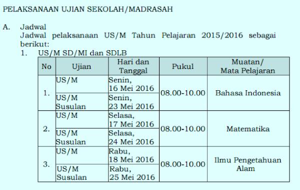 Ujian Sekolah (UN) SD/MI Digelar 16-18 Mei 2016