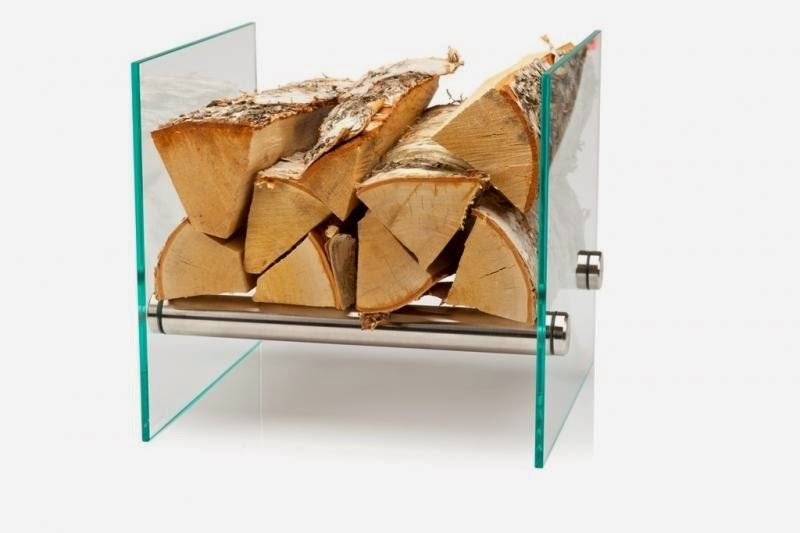 Elegancki, szklany stojak na drewno