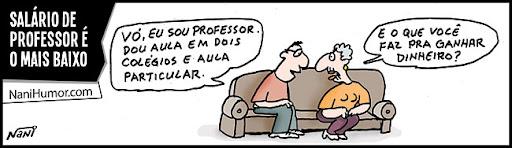 Tiras: Salário de professor é o mais baixo