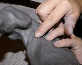 making a clay horse sculpture