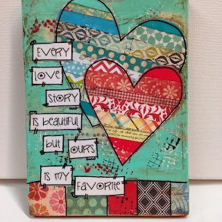 every love story is beautiful but ours is my favorite, mixed media, mixed media hearts, hearts, aqua heart, wall decor